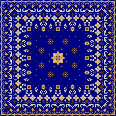 handkerchief: Blue handkerchief with damask ornaments. Textile pattern, illustration. Illustration