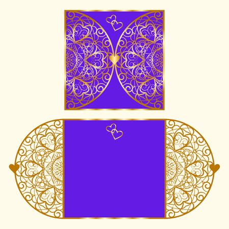 lasercutting: Wedding invitation or greeting card with mandala lace ornament.