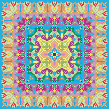handkerchief: Bright colored handkerchief with abstract pattern silk scarf or shawl.