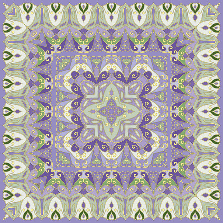 handkerchief: Lilac handkerchief with delicate ornaments. Textile pattern, vector illustration. Illustration