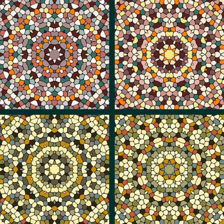 four texture: Four abstract mosaic ornament. Red and brown colors. Texture of ceramic tiles.