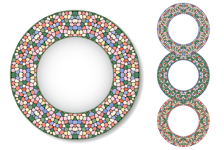 mosaic tiles: Four abstract mosaic plates. Gentle colors. Texture of ceramic tiles. Illustration