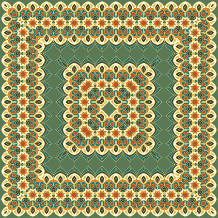 silk scarf: Green colored handkerchief with abstract pattern silk scarf or shawl.