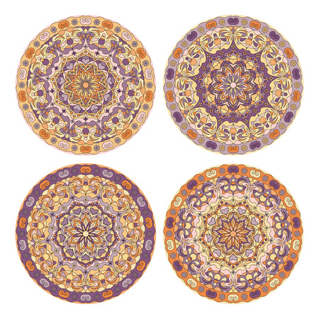 Four delicate circular ornaments to dishes, plates and souvenirs. Vector illustration.
