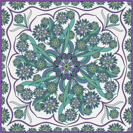 neckerchief: Detailed floral pattern for scarf, shawl, carpet or embroidery. Light background. Vector illustration. Illustration