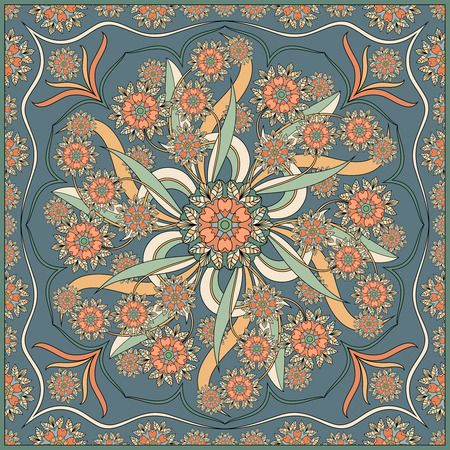 Detailed floral pattern for scarf, shawl, carpet or embroidery. Vector illustration. 矢量图像