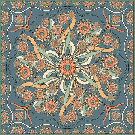 Patrón floral detallado para bufanda, mantón, alfombra o bordado. Ilustración del vector.