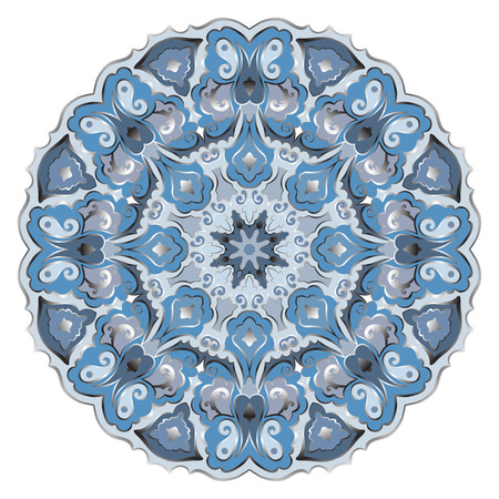Ornate, eastern mandala with silver contour. Vector round colorful ornament in blue tones isolated on a white background. Illustration