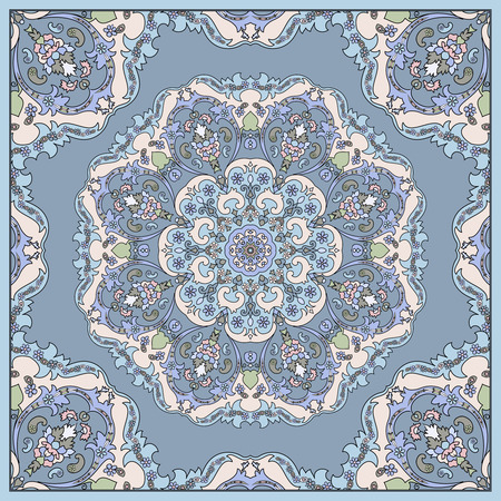 neckerchief: Elegant square blue abstract pattern. Can be used to design pillows, scarves, neckerchief, bandanna, cushion.
