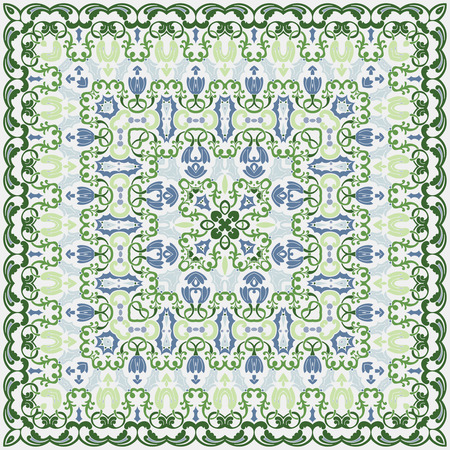 handkerchief: Light handkerchief with delicate green ornaments. Textile pattern, vector illustration.