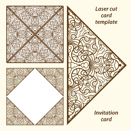 lazer: Wedding invitation or greeting card with classical ornament.