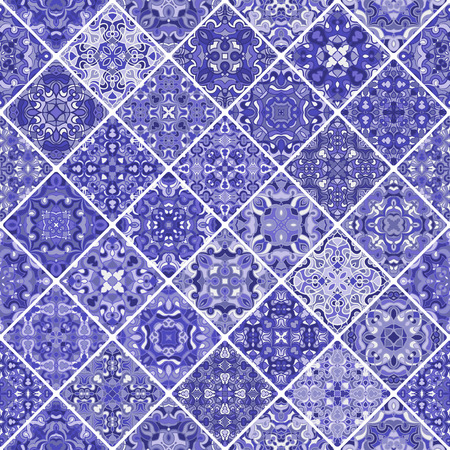 scraps: Mosaic abstract patterns of blue shades. Square scraps in oriental style. Vector illustration. Ideal for printing on fabric or paper.
