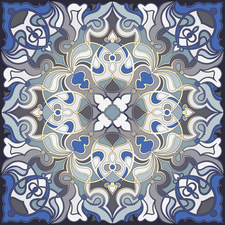 handkerchief: Blue handkerchief with oriental ornaments. Textile pattern, vector illustration. Illustration