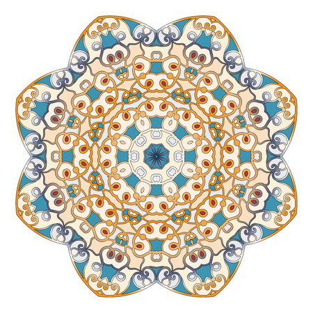 Ornamental round pattern for Anti-stress therapy. The unusual shape of the flower. East snowflake. Can be used for tattoo or print on t-shirts, design and wedding cards.