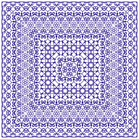 handkerchief: Square blue pattern on a white background. Decorative ornament to the handkerchief. Vector illustration. Illustration