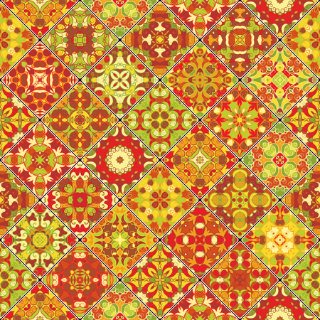 scraps: Collection of orange abstract patterns in the mosaic set. Square scraps in oriental style. Vector illustration. Ideal for printing on fabric or paper.