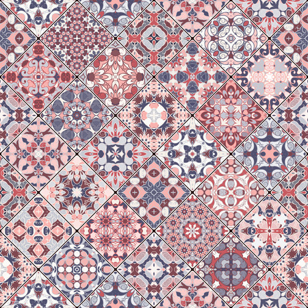scraps: Collection of abstract patterns in the mosaic set. Square scraps in oriental style. Vector illustration. Ideal for printing on fabric or paper.