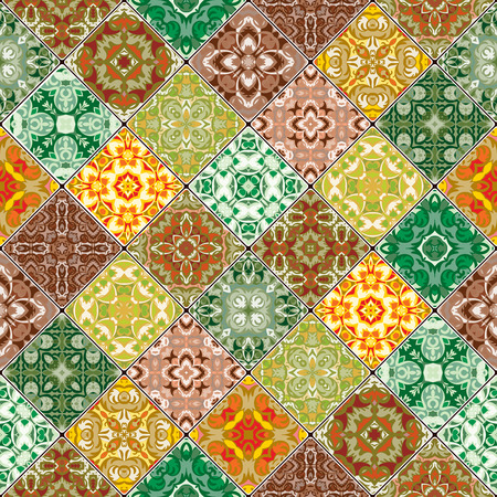 Orange et vert motifs abstraits dans l'ensemble de la mosaïque. bouts carrés dans le style oriental. Vector illustration. Idéal pour l'impression sur tissu ou de papier.