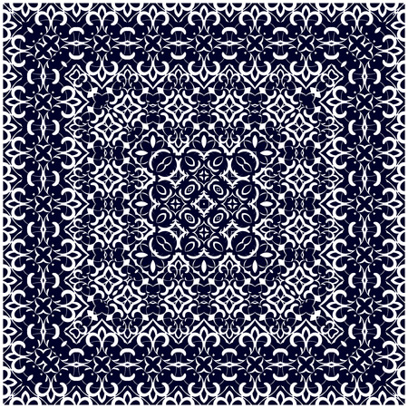 handkerchief: Square white pattern on a blue background. Decorative ornament to the handkerchief. Vector illustration.