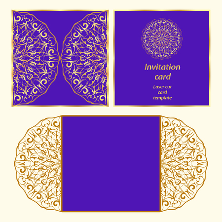 laser cutting: Wedding invitation or greeting card with classical ornament. Picture suitable for laser cutting or printing. Gold pattern on a blue background. Vector illustration. Illustration