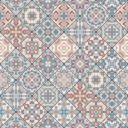 scraps: Abstract orange and blue patterns in the mosaic set. Square scraps in oriental style. Vector illustration. Ideal for printing on fabric or paper. Illustration