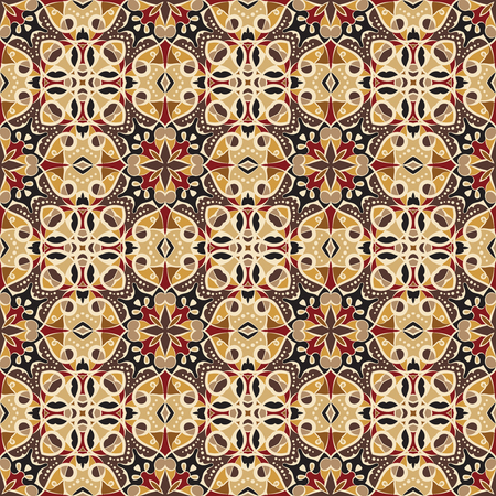 Bright seamless pattern in ethnic style. Ornament of symmetrical elements for the decor. Vector illustration.