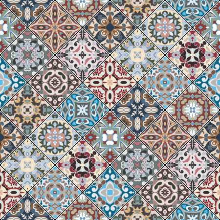 scraps: Colorful abstract patterns in the mosaic set. Square scraps in oriental style. Vector illustration. Ideal for printing on fabric or paper.