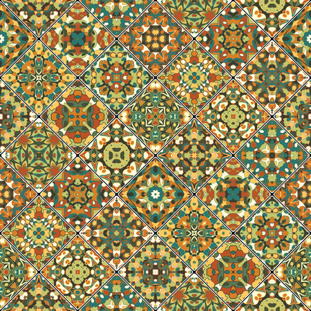 scraps: Orange and green abstract patterns in the mosaic set. Square scraps in oriental style. Vector illustration. Ideal for printing on fabric or paper.