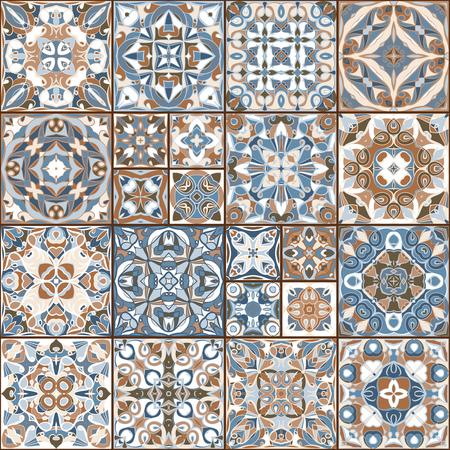 Una colección de azulejos de cerámica en colores retros. Un conjunto de patrones cuadrados en estilo étnico. Ilustración del vector.