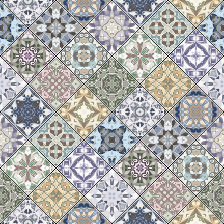 scraps: Abstract patterns in the mosaic set. Square scraps in oriental style. Vector illustration. Ideal for printing on fabric or paper.