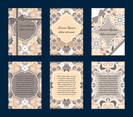 wedding reception decoration: Set of vintage greeting cards with ethnic ornament. Can be used for Save The Date, baby shower, day of Mothers or Valentines and invitations.