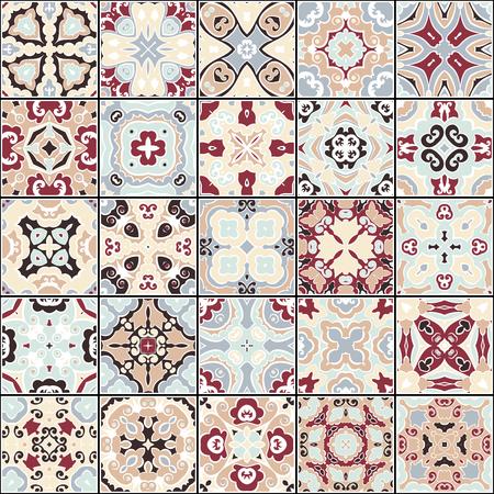 Colección de azulejos de cerámica Ilustración de vector
