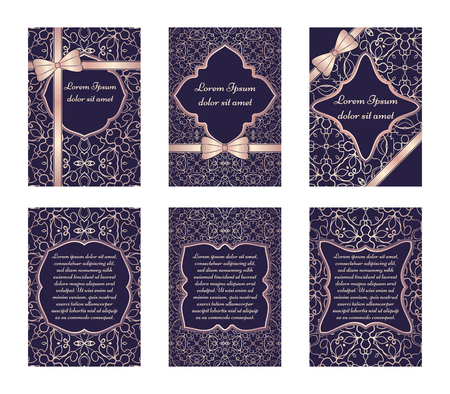 vignette: Set of vintage cards with pink ornament on a dark blue background. Ornate border and place for your text. Vector illustration.