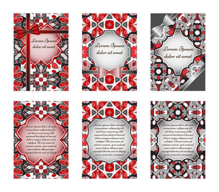 Set of vintage greeting cards with ethnic ornament. Can be used for Save The Date, baby shower, day of Mothers or Valentines and invitations.
