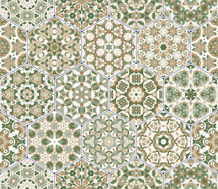 carpet flooring: Vector set of hexagonal patterns.