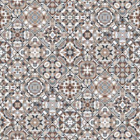 ceramic tiles: Square scraps in oriental style. Illustration