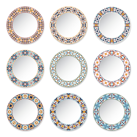 Set of decorative plates with a circular orange pattern, top view. White background. Vector illustration. Stock fotó - 71939027