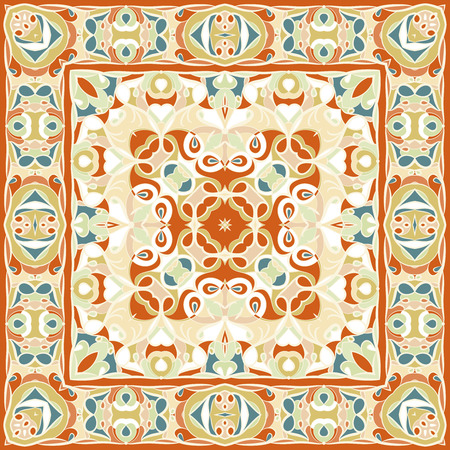 Bright color pattern in Oriental style. Square ornament for shawls, scarves or pillow. Can be used for printing onto fabric or paper. Vector illustration.