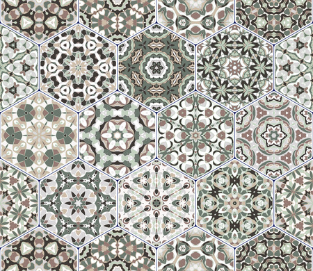 carpet flooring: A rich set of hexagonal ceramic tiles in shades of green. Colorful elements in oriental style. Vector illustration.
