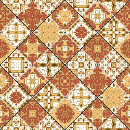 carpet flooring: Brown and white abstract patterns in the mosaic set. Square scraps in oriental style. Vector illustration. Ideal for printing on fabric or paper. Illustration