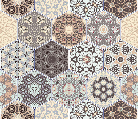 Set of hexagonal patterns.