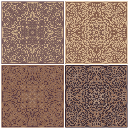 neckerchief: Four square patterns of brown and cream shades. Oriental ornament for the design of scarves, scarves or textiles. Vector illustration.
