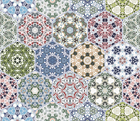 A rich set of hexagonal ceramic tiles. Eastern colored carpet. Colorful elements in oriental style. Vector illustration. Ilustrace