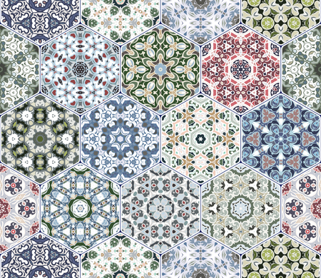 flooring: A rich set of hexagonal ceramic tiles. Eastern colored carpet. Colorful elements in oriental style. Vector illustration. Illustration