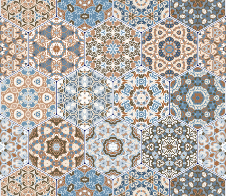 carpet flooring: A rich set of hexagonal ceramic tiles. Eastern colored carpet. Colorful elements in oriental style. Vector illustration. Illustration