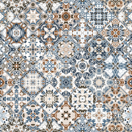 flooring: Brown and blue abstract patterns in the mosaic set. Square scraps in oriental style. Vector illustration. Ideal for printing on fabric or paper.