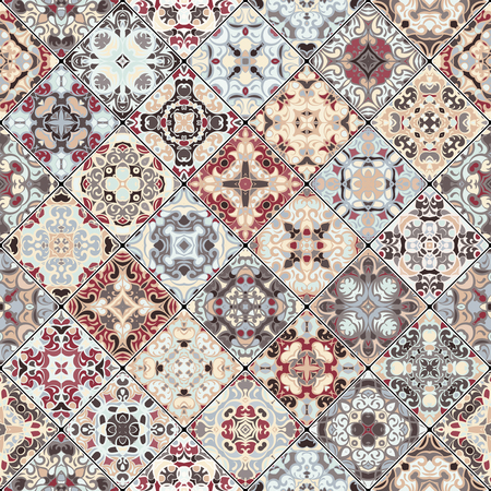 flooring: Set of seamless abstract patterns. Colorful tiles background in oriental style. Vector illustration.