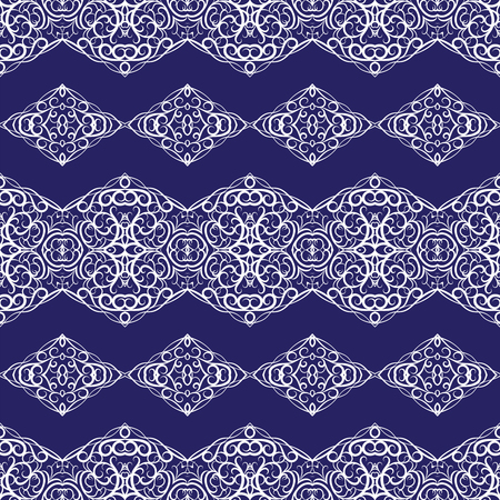 Seamless Ethnic white patterns on blue background for border. Repeated oriental motif for fabric or paper design.