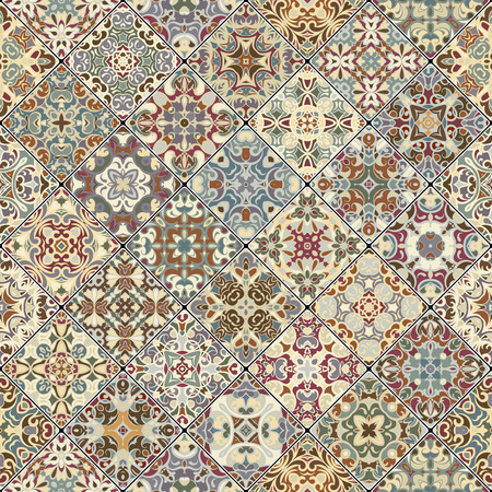carpet flooring: Colorful abstract patterns in the mosaic set. Square scraps in oriental style. Vector illustration. Ideal for printing on fabric or paper.