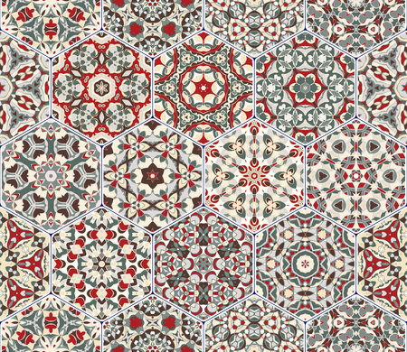 carpet flooring: A rich set of hexagonal ceramic tiles in shades of red and green. Colorful elements in oriental style. Vector illustration.